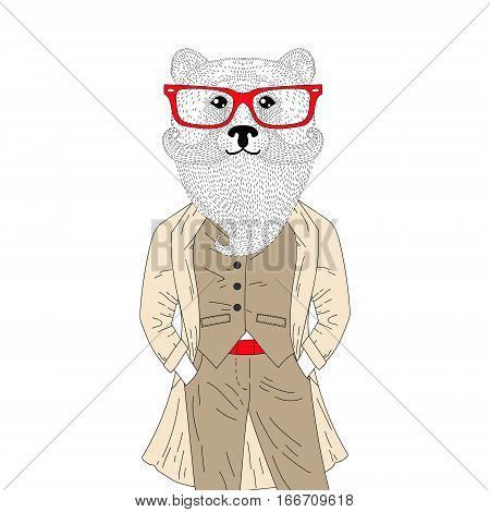 Vector brutal bear in elegant classic suit with coat. Hand drawn anthropomorphic animal with mustache, beard, glasses, illustration for t-shirt print, greeting card, invitation for gentleman party.