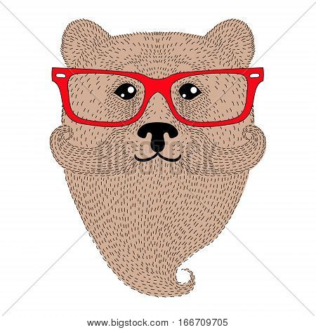 Cute brown bear portrait with french mustache, beard, glasses. Hand drawn wild anthropomorphic grizzly face, vector illustration for t-shirt print, kids greeting card, invitation for gentleman party.