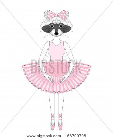 Vector cute raccoon girl in dress like ballerina. Hand drawn anthropomorphic animal, illustration for t-shirt print, kids greeting card, invitation for pet party.