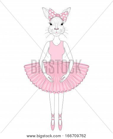 Vector cute bunny girl in dress like ballerina. Hand drawn anthropomorphic rabbit, illustration for t-shirt print, kids greeting card, invitation for pet party.