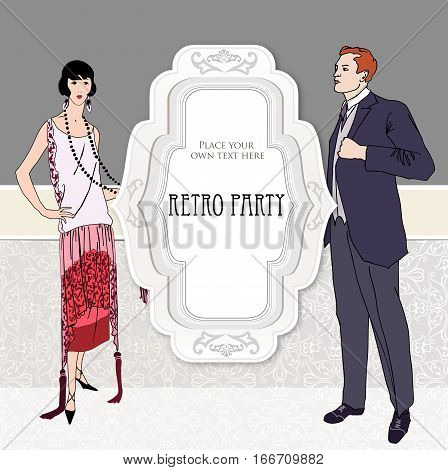 Retro party invitation design. Flapper girl and man over vintage background with copy space in 1930s style.