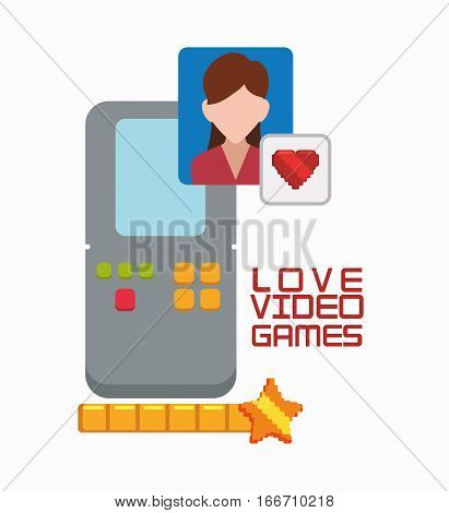 love video game portable girl character vector illustration