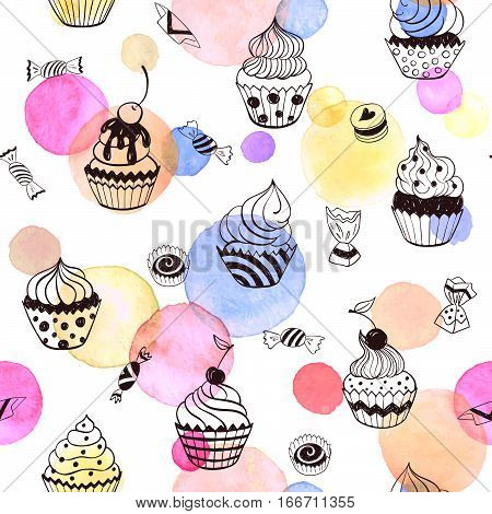 Cupcakes seamless pattern with watercolor spots. Sweets background design. Hand drawn doodle illustration with pastry.