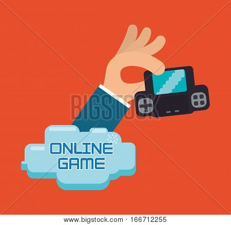online game hand hold console portable vector illustration eps 10