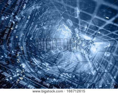 Computer background in blues with map tunnel and digits.