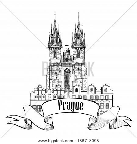 Prague city landmark Tyn Cathedral & Clock Tower sketch. Travel European famous place.