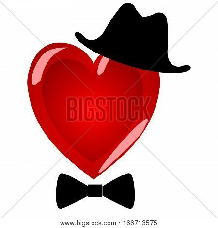 Mr heart. Character gentleman in a beautiful hat with a bow tie. The symbol of Valentine's Day on a white background.