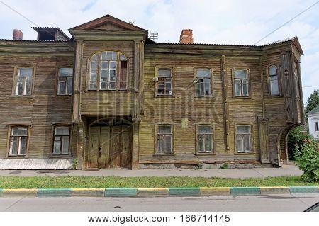 Nizhny Novgorod, Russia. - July 14.2016. Old Residential Two-storey Wooden House On Slavyanskaya Str