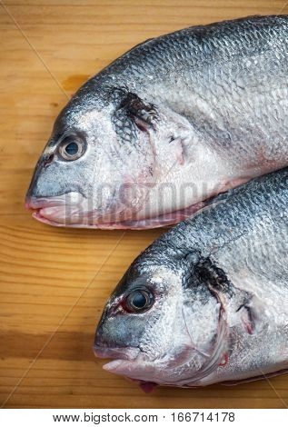 Two fishes ready for cooking close up