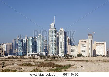 Skyline of Jumeirah Lakes Towers in Dubai United Arab Emirates