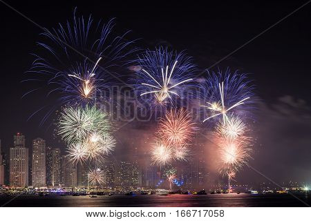 Tha 45th UAE National Day celebration fireworks in Dubai Marina. United Arab Emirates Middle East