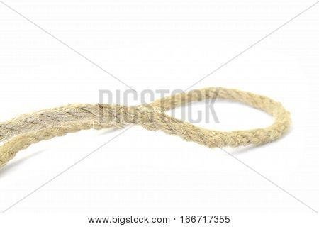 Yellow rope segment on the white background.