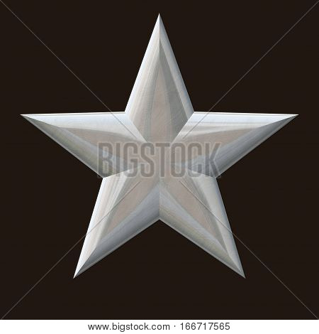 Glassy silver grey or white 3d flat star shape symbol of christmas object on dark brown