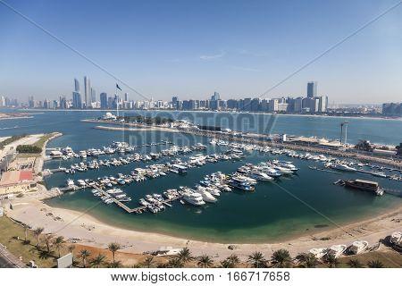 Elevated view over the Abu Dhabi marina. United Arab Emirates Middle East