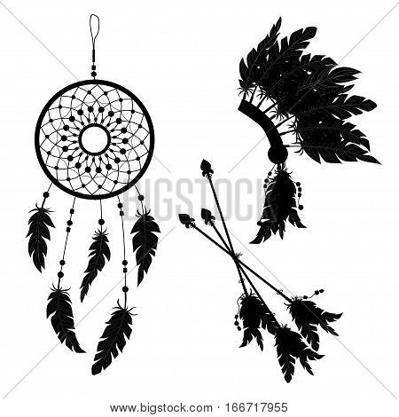 Dream Catcher And Indian Feather Headdress. Three Darts Decorated With Feathers. Silhouette.