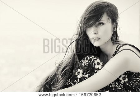 Sitting Beauty Woman Hairstyle