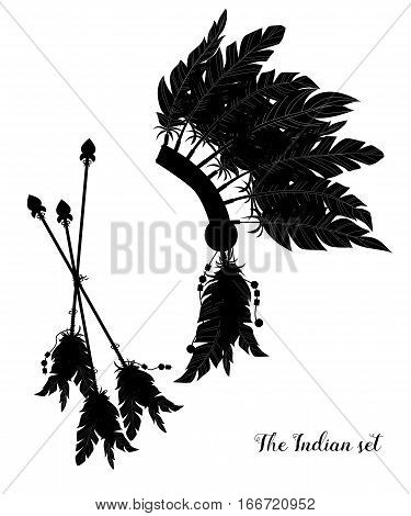 Indian Feather Headdress. Three Darts Decorated With Feathers. Silhouette.