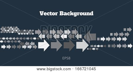 Background with left and right direction arrows in gray tones. Abstract technology banner of geometric arrowhead symbols on deep blue backdrop. Vector eps8 illustration.