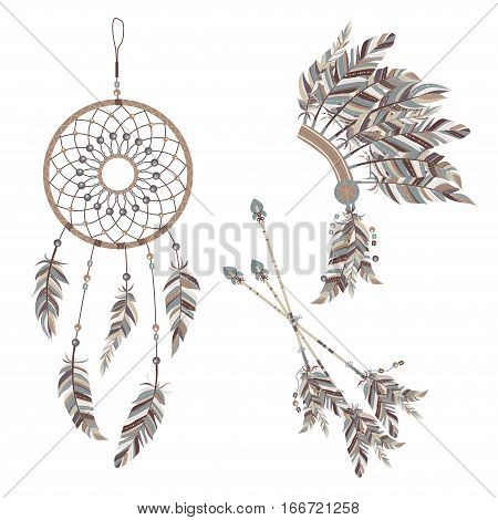 Dream Catcher And Indian Feather Headdress. Three Darts Decorated With Feathers.