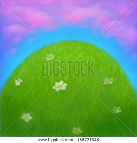 Cartoon landscape with Hand drawn green grass lawn blue sky and pink clouds background. Sunny Green hill with field of grass and flowers. Spring or summer bright landscape. Digital 2d illustration.