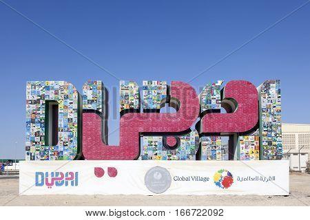 DUBAI UAE - DEC 2 2016: Dubai Global Village Sign. United Arab Emirates Middle East