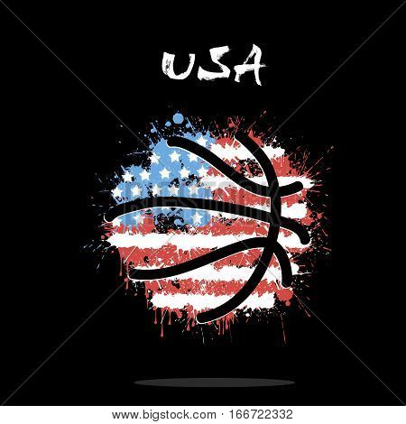 Abstract basketball ball painted in the colors of the USA flag. Vector illustration