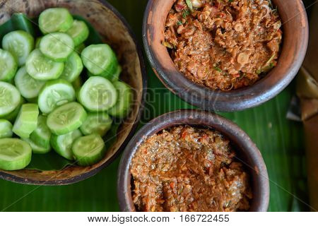 Fermented Fish Spicy Dip In Bowl Baked Clay