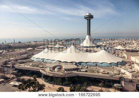 ABU DHABI UAE - DEC 3 2016: High angle view of the Marina Mall in Abu Dhabi United Arab Emirates