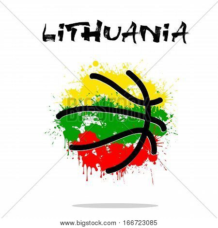 Abstract basketball ball painted in the colors of the Lithuania flag. Vector illustration