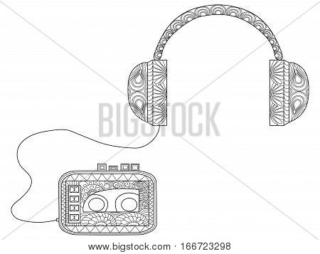 Player with headphones coloring book for adults vector illustration. Anti-stress coloring for adult music. Zentangle style. Black and white lines listen. Lace pattern