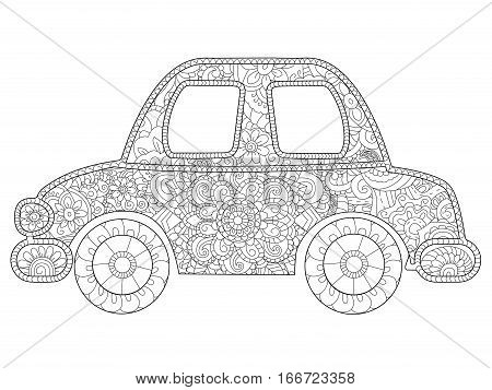 Baby toy car animal coloring book for adults vector illustration. Anti-stress coloring for adult. Zentangle style. Black and white lines transport. Lace pattern plaything