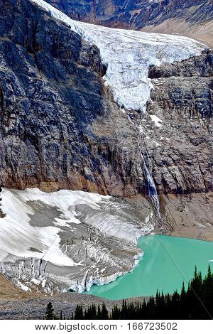 Glacier lake at Mount Edith Cavell. Jasper National Park.  Alberta. Canada.