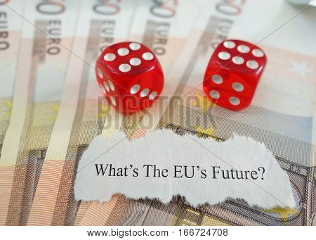 EU future news headline on Euro notes with dice poster