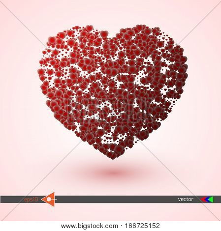 Vector Heart Pink And Red. Symbol And Logo Heart Pixel. Valentines Day. New Year, Christmas Black An