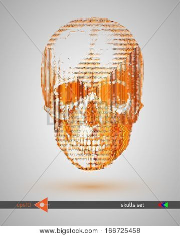Vector Scull. Gold Metall. On A White Background. Graphical Illustration. Music Party. Hand Drawing.