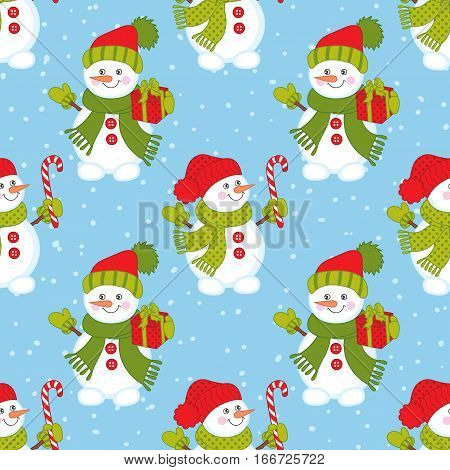 Vector seamless pattern with snowman,  candy stick and gift box