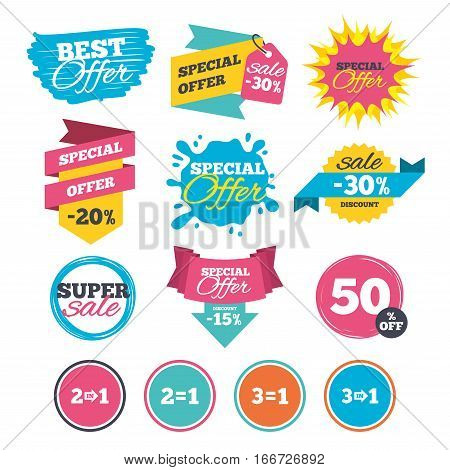 Sale banners, online web shopping. Special offer icons. Take two pay for one sign symbols. Profit at saving. Website badges. Best offer. Vector