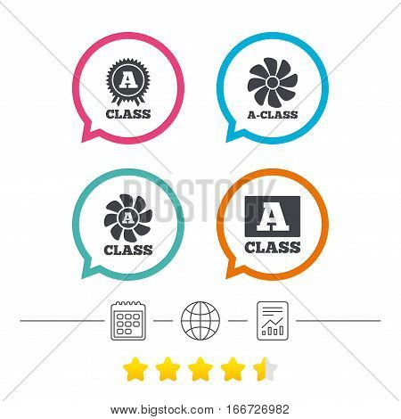 A-class award icon. A-class ventilation sign. Premium level symbols. Calendar, internet globe and report linear icons. Star vote ranking. Vector