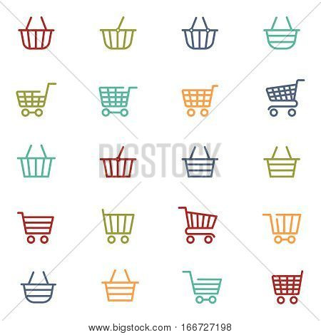 Colorful shopping baskets thin line icons set isolated on white. Vector illustration