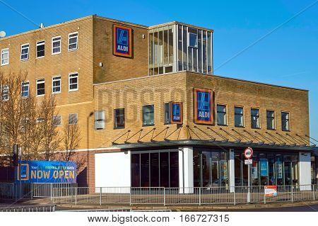Blackwater, Uk - 21 Jan 2017: Exterior Shop Front Of The Aldi Store. Aldi Are A Famous German Discou