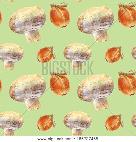 Champignon and onion on green background. Watercolor hand made. Seamless colorful pattern. Could be used for textile or in design
