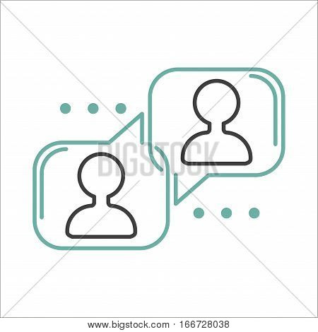 Speech bubble icon communication symbol talk element message chat web vector line art. Think cartoon template chatting conversation abstract button.