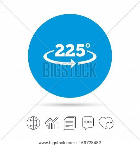 Angle 225 degrees sign icon. Geometry math symbol. Copy files, chat speech bubble and chart web icons. Vector
