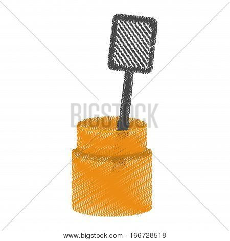 drawing grilled spatula container utensil kitchen vector illustration eps 10