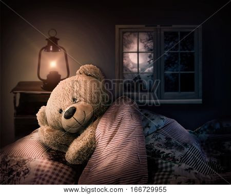 teddy bear in bed. sleep at night