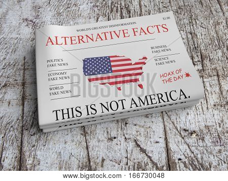 US Politics News Concept: Pile of Newspapers Alternative Facts On Scratched Old Wood 3d illustration