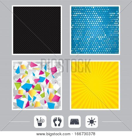 Carbon fiber texture. Yellow flare and abstract backgrounds. Beach holidays icons. Cocktail, human footprints and swimming trunks signs. Summer sun symbol. Flat design web icons. Vector