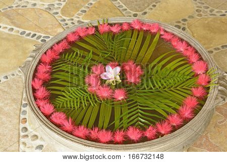 Outdoor Floating Floral Arrangement in  a park in Nepal