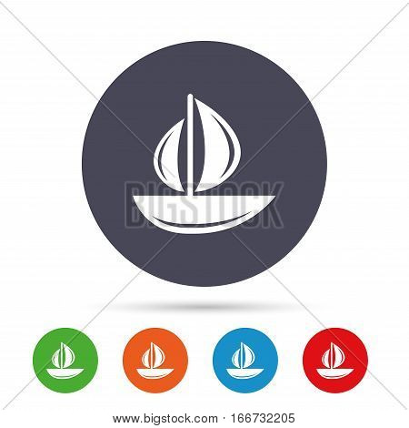 Sail boat icon. Ship sign. Shipment delivery symbol. Round colourful buttons with flat icons. Vector