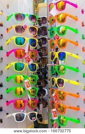 Heraklion, Greece - July 23, 2014: Sunglasses Ray-Ban in shop.